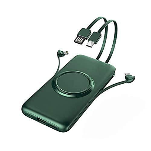 Kettles Cargador inalámbrico Banco de energía Incorporado 20000mAh 4 Cables Cargador de batería Externo portátil para i/teléfono H/UAWEI S/AMSUNG X/IAOMI P/EWERBANKANK (Color : Green 10000amh)
