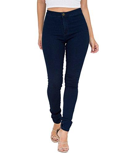 EASTDAMO Frauen-Ausdehnung-hohe Taille dünne Jeggings dünne Jeans, Blue, Gr. XL