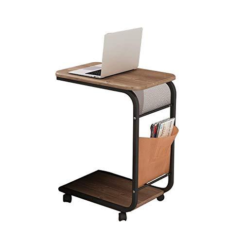 ALYR Sofa Beistelltisch, Sofatisch auf Rollen, Beistelltisch für kleine Räume mit Seitentasche, C-geformte Tabelle Mobiltisch für Wohnzimmer Schlafzimmer Balkon und Büro,F