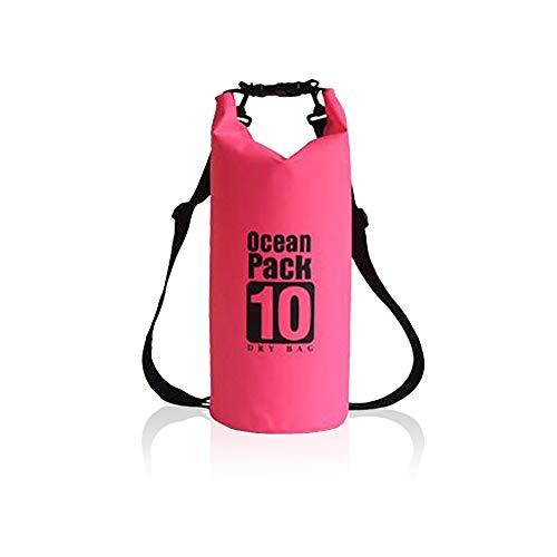 Buwico 10L/20L Dry Bag, 500D PVC Ocean Pack Wasserdichter Packsack wasserdichte Tasche Trockensack mit Verstellbarer Schultergurt für Kayaking Fischen Schwimmen Kampieren Wassersport (Rosa, 10L)