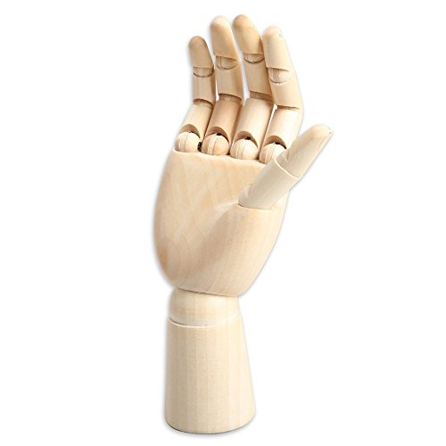 Yookat Art Mannequin, Wood Art Mannequin Hand Model - Perfect for Drawing, Sketch, etc.(Female Hand) 10 inch Wooden Sectioned Flexible Fingers Manikin Hand Figure Random Left or Right Hand