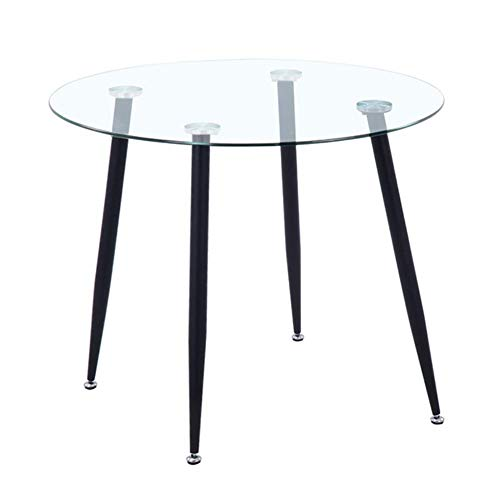 GOLDFAN Round Glass Dining Table Modern High Gloss Kitchen Table with Chrome-plated Legs for Dining Room (Black, Glass)