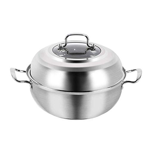 Cooking Pot, Soup Pot,Casserole Dish 32CM Stainless Steel Double-Layer Food Steamer Soup Pot Cooker, Non-Stick Pan, Steam Fish, Seafood Steam, Vegetable Steam