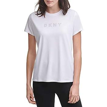 DKNY Sport Women s T-Shirt White with Rhinestone Logo Medium