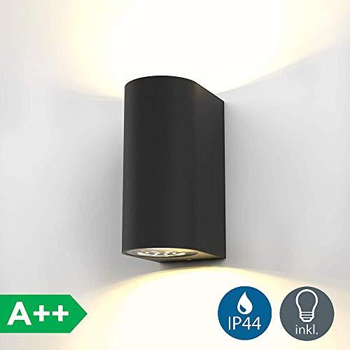 SOLDAY Licht LED Wandleuchte Auß enwandleuchte inkl. 2x 6W GU10 Leuchtmittel Auß enleuchte Auß enlampe Wandlampe für Innen und Außen schwarz IP44 [Energieklasse A++]