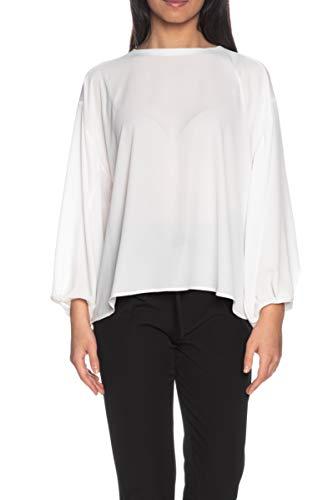 Please Damen Bluse Langarm Weiß Weiß Bianco Small
