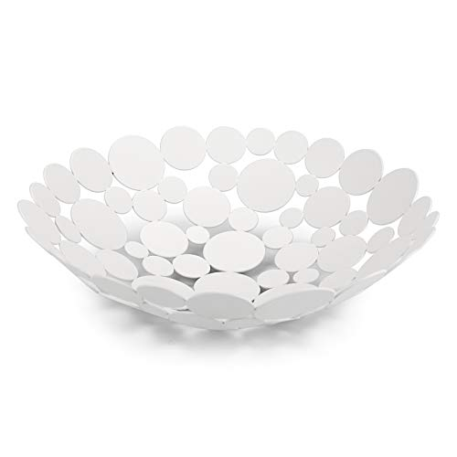 OwnMy Metal Fruit Bowl Basket Creative Table Centerpiece Fruit Stand Decorative Countertop Fruit Holder for Kitchen Counter, Iron Large Fruit Plate Round Storage Tray for Bread Snacks Candy (White)