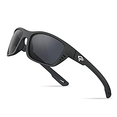 TOREGE Mens Polarized Sports Sunglasses with Saltwater Resistant Lens Fishing Surfing Baseball Golf Sunglasses TR29 (Matte Black Frame&Grey Lens)