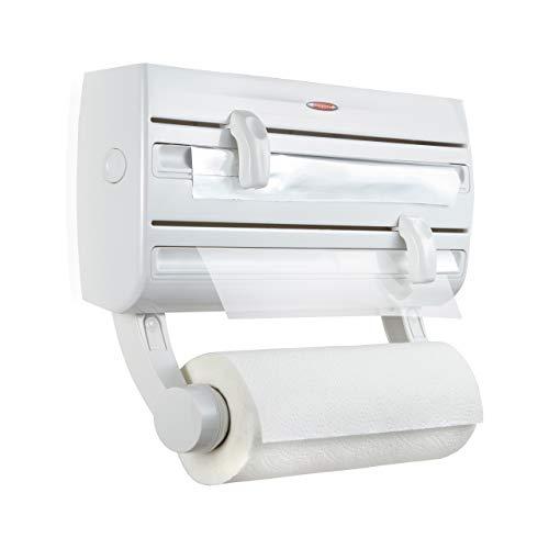 Leifheit Parat F2 ComfortLine Portarotoli per 3 rotoli, Taglia rotoli con ripiano portaspezie, Portarotolo cucina carta, pellicola, alluminio, bianco