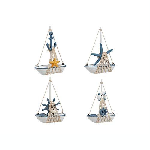Guve Decorazione del Modello di Barca a Vela - Set in Miniatura di 4 Pezzi in Legno per Barche a Vela, Arredamento di Design Nautico,(W*H) 11 * 16.5cm