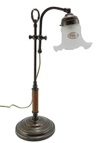 Tischlampe Messing brüniert Schreibtisch,Kommode Jugendstil mit Slp26 Glas. Durchmesser Glas 13,5...