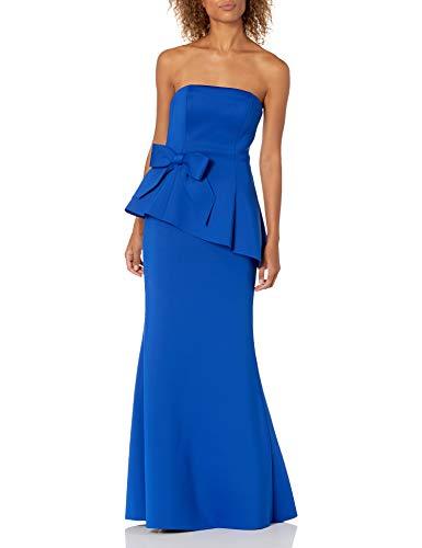 Eliza J Women's Scuba Peplum Gown with Waist Bow Dress, Cobalt, 12