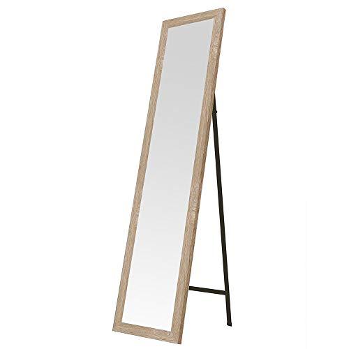 Espejo de pie de madera beige nórdico para dormitorio de 37 x 157 cm France - Lola Home
