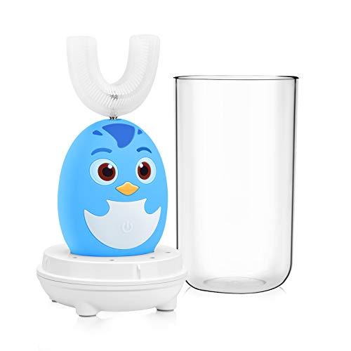 Cepillo de Dientes Eléctrico para Niños,Kriogor IPX7 a Prueba de Agua Forma de U Silicona Cepillo de Dientes Inteligente,Cepillo de Dientes Limpiador Recargable USB con 3 Funciones(2-6 años-Azul)