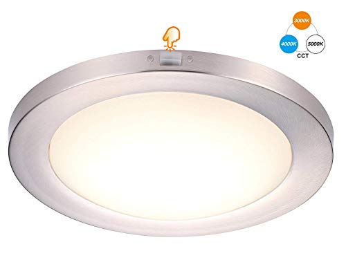 Cloudy Bay 12 inch Ceiling Light LED Flush Mount,17W 1100LM Dimmable CRI 90+,3000K/4000K/5000K Adjustable,Brushed Nickel