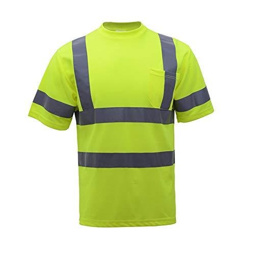 Bouw autobanen reflecterende kleding reflecterende veiligheid ademend T-shirt, korte mouwen fietskleding veiligheidsvesten, 380 ° hoge zichtbaarheid verkeer reflecterende veiligheidsvest