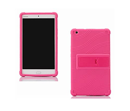 Slim Stand Back Funda Funda para Huawei MediaPad M3 Lite 8.0 CPN-L09 CPN-W09 CPN-AL00 Tableta de 8 Pulgadas Tableta Suave Cubierta de Silicona-Rosa roja