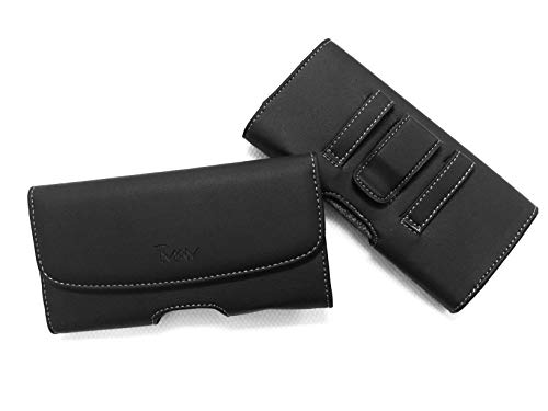 Horizontal Black Leather Carrying Belt Clip CASE Holster Pouch with Magnetic Closure & Belt Loops for Samsung Galaxy Z FOLD 2 and Galaxy FOLD with Any Hybrid Tough Armor CASE ON