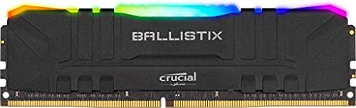 Crucial Ballistix BL2K8G32C16U4BL RGB, 3200 MHz, DDR4, DRAM, Memoria Gaming Kit per Computer Fissi, 16GB (8GBx2), CL16, Nero