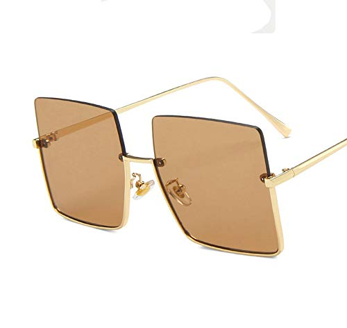 GRFD Gafas de Sol cuadradas Retro, Gafas de Sol de Borde Cortado de Metal de Media Montura, sombrilla con Personalidad Elegante y protección UV