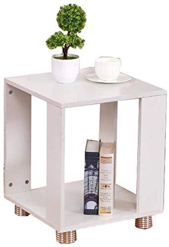 Nachttisch, Couchtisch, Sofa, quadratischer Nachttisch, Massivholzschrank, Beistelltisch (Farbe: Weiß, Größe: 40 cm)