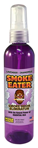 Smoke Eater - Breaks Down Smoke Odor at The Molecular Level - Eliminates Cigarette, Cigar or Smoke On Clothes, in Cars, Boats, Homes, and Office - 4 oz Travel Spray Bottle (Lavender)
