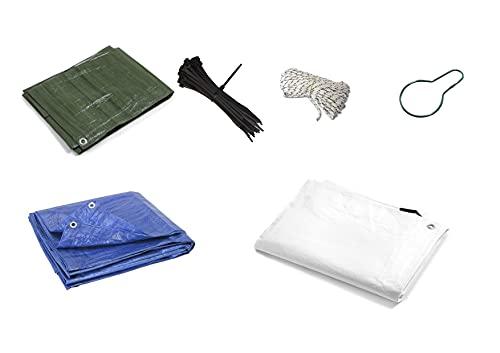 Pinto Ferramenta E-commerce Telo Telone Pvc Impermeabile occhiellati da Esterno Occhielli per mobili da Giardino, Piscina, Auto, Camion, Protezione 100 FASCETTE, 10 GANCI, 10mt CORDA  (3X3MT, VERDE)