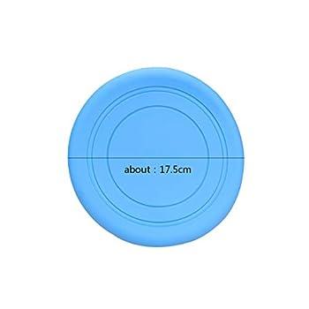 JieGuanG Frisbees en caoutchouc, environ 17,5 cm, jouet antidérapant en silicone souple pour les parents et les enfants - Bleu