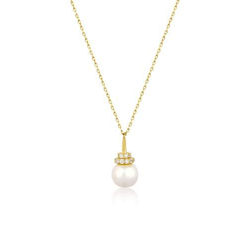 ZNZNN Collar de Perlas Simple 925 Plata Natural Pearl Pearl Colgante con Incrustaciones con Collar de circón para Mujeres niñas, excelente Regalo - Regalo de Collar de Moda
