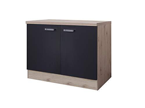 Smart Möbel Spülenunterschrank 100 cm mit Arbeitsplatte/ohne Spüle Anthrazit - Lino