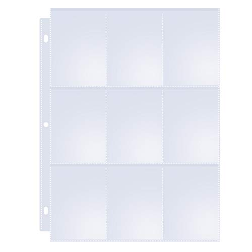 Toupeone 9-Pocket Baseball Card Sleeves for 3 Ring Binder Clear Plastic Trading Card Page Protectors Sheet (30 Pages)
