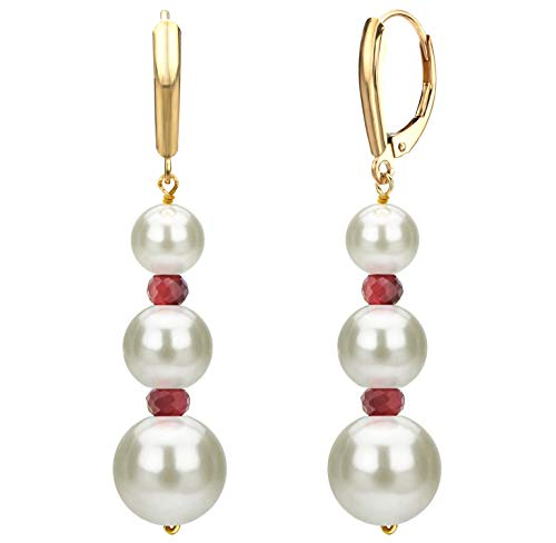 Graduated Freshwater Cultured White Pearl and Simulated Red Ruby Lever-back Earrings in 14k Yellow Gold