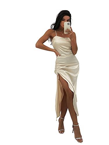SheIn Damen Elegant Kleid Satin Spaghettiträger Maxi Kleid mit Schnürung und Schlitz Hochzeitkleid Partykleid Beige M