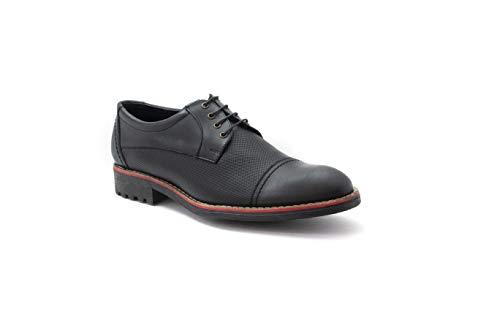 Zapato para Hombre Derby Casual con Punta Recta Duque (25.5, Negro)