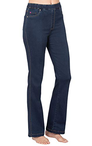 PajamaJeans Curvy Jeans for Women - High Waist Jeans, Bootcut, Indigo, L / 12-14