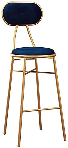 WWWWW-DENG barkruk, barkruk, keukenstoel, zitkussen van blauw fluweel, voeten van goudkleurig metaal, zithoogte 25,6 inch