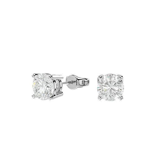VVS Gems Pendientes de tuerca con diamante natural de oro blanco de 14 quilates con certificado IGI, para mujer con cierre de mariposa