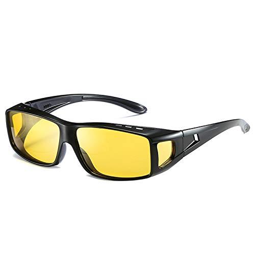 Gafas de conducción de día/noche para hombres se ajustan sobre gafas de prescripción unisex cuadradas gafas de sol HD Vision polarizadas antirreflejos