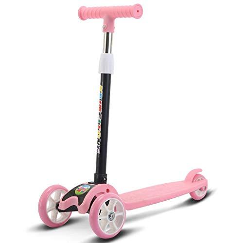 JSZHBC Vespa Plegable Ultraligero Altura Ajustable portátil de Regalo de cumpleaños for los niños no eléctricos Scooter clásico (Color : Pink)