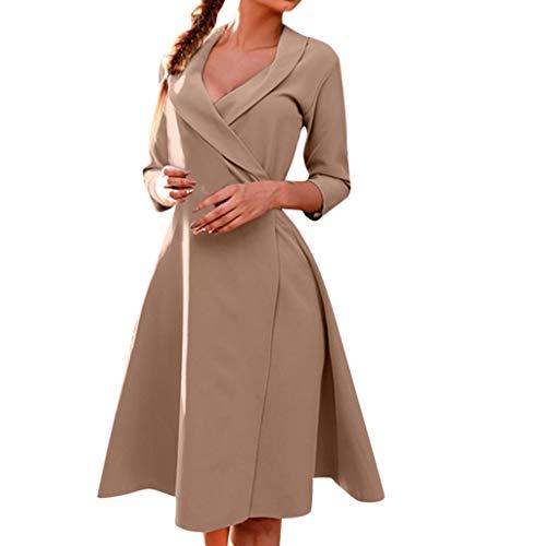 WFRAU Kleid für Frauen,Damen Umlegekragen Einfarbig V-Ausschnitt Halber Ärmel Fitness Krawatte Kleid Mantel,Damen Party Kleid Abendkleid Strandkleidung Strand Kleider