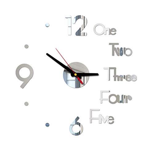 orologio da parete juve YSYSPJM Digital Orologio da Parete Fai da Te 3D Specchio Autoadesivo Silenzioso Orologio da casa Decorazione dell'orologio da Parete per Ufficio per Ufficio (Color : Silver)
