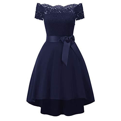Vestidos de hombro frío para mujer, estilo vintage, con hombros descubiertos, princesa, floral, cóctel, fiesta, vestido de columpio, vestidos formales para mujer de boda (azul marino, L)