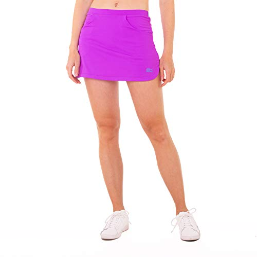 Sportkind Mädchen & Damen Classic Tennis, Hockey, Golf Skort, Rock mit Taschen & Innenhose, atmungsaktiv, UV-Schutz, lila, Gr. 134