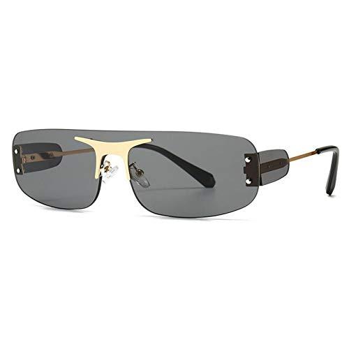 ZZOW Gafas De Sol De Lujo De Una Pieza Sin Montura A La Moda para Mujer, Gafas De Sol Clásicas con Lentes Transparentes para El Océano, Gafas De Sol con Remaches Uv400 para Hombre