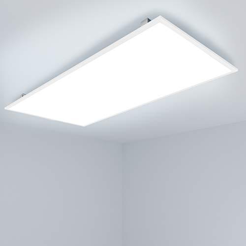[Pro High Lumen] OUBO LED Panel 120x60cm Deckenleuchte 72W 10000 Lumen Kaltweiß 6000K Weißrahmen, Einbauleuchten Set 230V, Wandleuchte, inkl. Trafo und Anbauwinkel