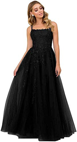 R&Bwedding Ladies' Lace Appliques Prom Dresses Long Spaghetti Straps Lace-up Back Sleeveless Formal Evening Party Gowns