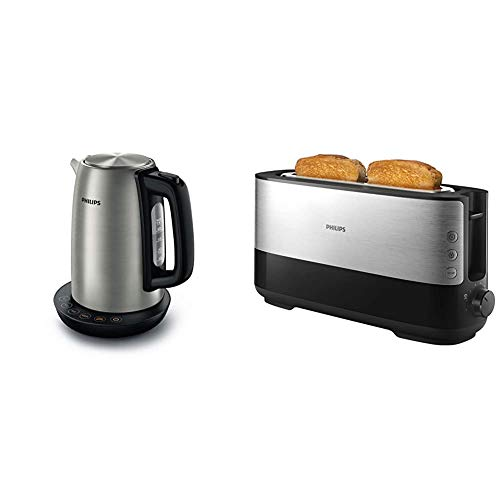Philips HD9359/90 Wasserkocher aus Edelstahl für Tee bis Babynahrung (2200 Watt, 1,7 Liter) & Langschlitztoaster (Edelstahl) 8 Bräunungsstufen, Brötchenaufsatz, 950 Watt, schwarz HD2692/90