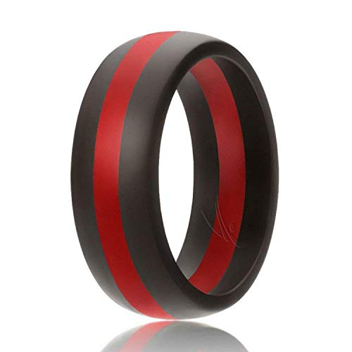ROQ Silicone Wedding Ring for Men, Silicone Rubber Band - Black with Red Thin Line Stripe, Size 9