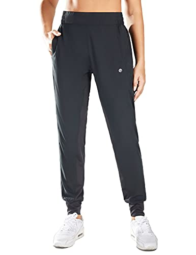 BALEAF Lightweight Athletic Joggers for Women Quick Dry Hiking Pants Workout Running Sweatpants with Pockets Black Size L