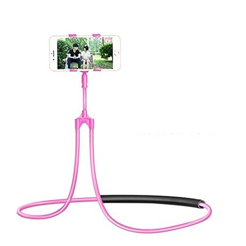 XU Tao Titular de teléfono móvil Cuello Colgante Collar Perezoso Soporte Cama 360 Grados Titular de Titular Soporte Ajuste para iPhone Xiaomi Huawei (Color : Pink)